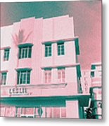 South Beach Miami Leslie Tropical Art Deco Hotel Metal Print