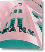 South Beach Miami Tiffany Hotel Tropical Art Deco Metal Print