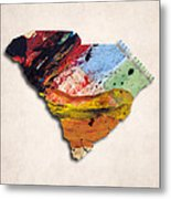 South Carolina Map Art - Painted Map Of South Carolina Metal Print
