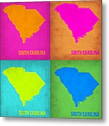 South Carolina Pop Art Map 1 Metal Print