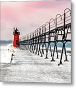 South Haven Light And Pier Metal Print