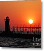 South Haven Lighthouse At Sunset 1 Metal Print