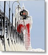 South Haven Lighthouse Frozen Ice Castle Metal Print