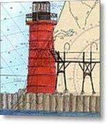 South Haven Lighthouse Mi Nautical Chart Map Art Cathy Peek Metal Print