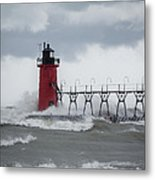 South Haven Pier Light In A Storm Metal Print