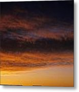 South Rim Grand Canyon Dramatic Clouds Sunset With Silhouetted R Metal Print