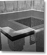 South Tower Pool In Black And White Metal Print