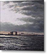 Southampton Docks From Weston Shore Winter Sunset Metal Print