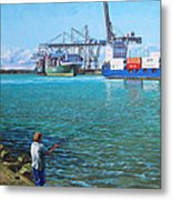 Southampton Western Docks Container Terminal As Seen From Marchwood Metal Print