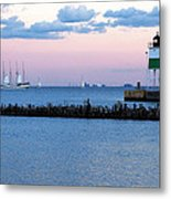 Southeast Guidewall Lighthouse At Sunset And Tall Ship Windy Metal Print