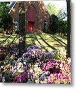 Southern Church In Bloom Metal Print