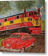 Southern Pacific Train 1951 Kaiser Frazer Car Rr Crossing Metal Print