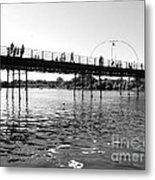 Southport Pier Across The Marine Lake Bw Metal Print