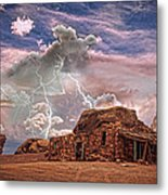 Southwest Navajo Rock House And Lightning Strikes Hdr Metal Print