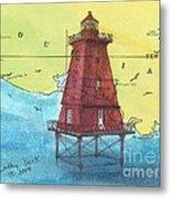 Southwest Reef Lighthouse La Nautical Chart Map Art Cathy Peek Metal Print