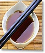 Soy Sauce With Chopsticks Metal Print