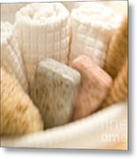 Spa Basket With Soaps Metal Print