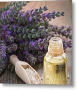 Spa With Lavender Oil And Bath Salt Metal Print
