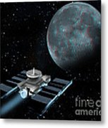 Space Exploration, Moon, Illustration Metal Print