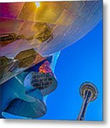 Space Needle And Emp In Perspective Hdr Metal Print
