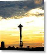 Space Needle Sunset Sillouette Metal Print