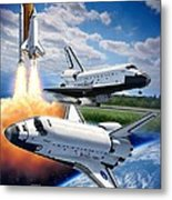 Space Shuttle Montage Metal Print