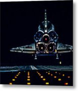 Space Shuttle Night Landing Metal Print