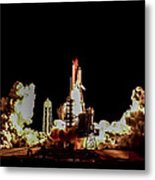 Space Shuttle Night Launch Metal Print