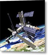 Space Station In Orbit Around Earth Metal Print