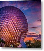Spaceship Earth Glow Metal Print