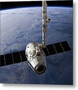 Spacex Dragon Capsule At The Iss Metal Print
