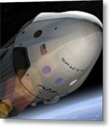 Spacex's Crew Dragon In Orbit Metal Print