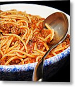 Spaghetti And Meat Sauce With Spoon Metal Print