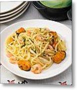 Spaghetti With Sea Food Metal Print