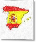 Spain Painted Flag Map Metal Print