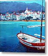 Spain Series 08 Cadaques Red Boat Metal Print