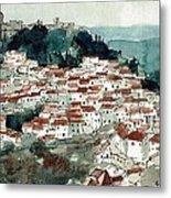 Spanish Hillside Village Metal Print