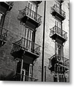 Spanish Balconies - Black And White Metal Print