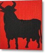 Spanish Black Bull Metal Print