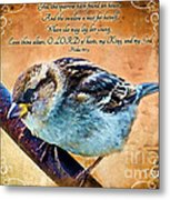 Sparrow With Verse And Painted Effect Metal Print