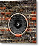 Speaker On A Cracked Brick Wall Metal Print
