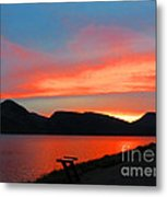 Spectacular Sunset On The Lake. Yellowstone. Metal Print