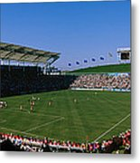 Spectators Watching A Soccer Match, Usa Metal Print