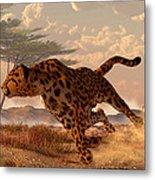 Speeding Cheetah Metal Print by Daniel Eskridge