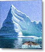 Sperm Whale Fluke In Front Of Iceberg Metal Print