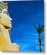 Sphinx And Palm Trees Las Vegas Metal Print