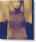 Sphinx Statue Blue Yellow And Lavender Usa Metal Print