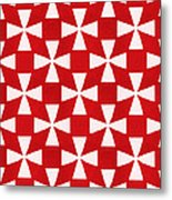 Spice Twirl- Red And White Pattern Metal Print by Linda Woods