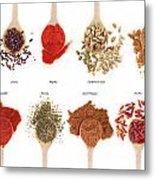 Spices Collection On Spoons Metal Print