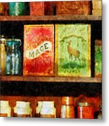 Spices On Shelf Metal Print
